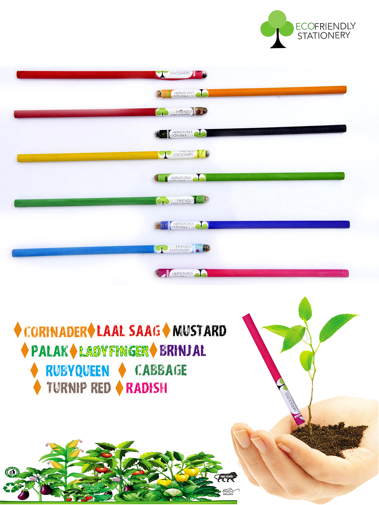 Set Of 10 Recyclable Pencils