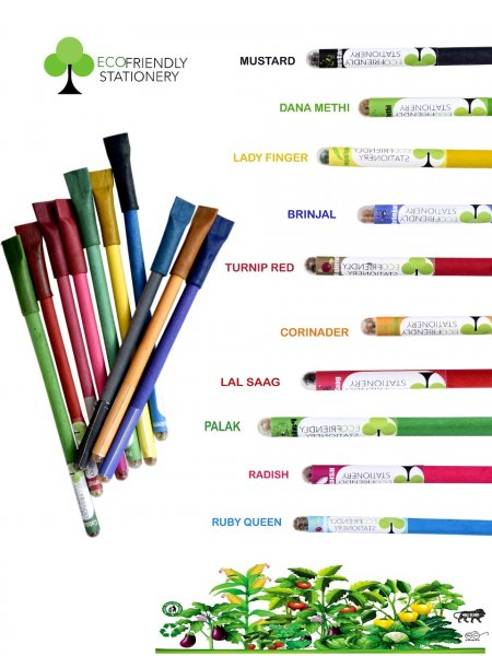 Set Of 10 Colorful Recyclable Seed Pens